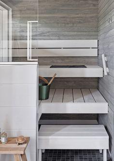 Two Color sauna Sauna Steam Room, Sauna Room, Sauna Design, Finnish Sauna, Spa Rooms, Living Room Interior, Cozy House, Sweet Home, New Homes