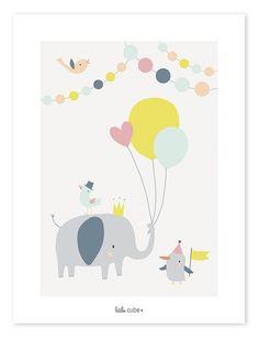 Lilipinso Kinderzimmer-Poster 'Tierparty' grau/koralle/mint/gelb 30x40cm - im Fantasyroom Shop online bestellen oder im Ladengeschäft in Lörrach kaufen. Besuchen Sie uns!