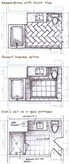 Kristina Crestin Design_Job progress - Considering some layout options for Georges Bathroom