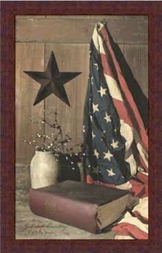 JUST REALLY WANT THIS PRINT WITH A BLACK FRAME.   God and Country by Billy Jacobs Americana Flag Country Folk Art 14x22 in Framed Art Print Picture by Framed Art by Tilliams, http://www.amazon.com/dp/B004CMS2V6/ref=cm_sw_r_pi_dp_cw8Erb1B8JGMG