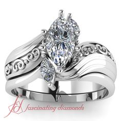 Gorgeous Engagement Ring Set With Marques Diamonds in White Gold GIA