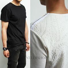 Avant Garde Mens Fashion Intaglio Paisley Print Zipper Short Tee Gentlershop | eBay