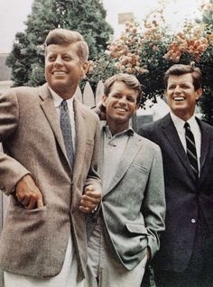 "The Kennedy Curse...Robert Francis ""Bobby"" Kennedy was assassinated on June 6, 1968 in Los Angeles. This photo shows the Kennedy brothers, John and Bobby both assassinated, and Ted Kennedy who died after battling a brain tumor."