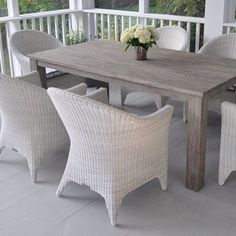 There's plenty of time to enjoy summer (and fall and winter) in this all-weather wicker and teak dining set from Kingsley Bate - we like things that are cute enough for inside...but tough enough for outside!  Love!  #mainandgray #mainandgrayhome #interiordesign #fortmill #charlotte #lakehouse