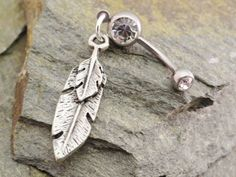 Feather Belly Button Jewelry Silver Tribal by MidnightsMojo, $15.00