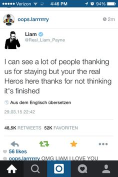 This brought tears to my eyes... shouldn't it be you're though but seriously I'm crying now :'( Liam you guys are my heroes