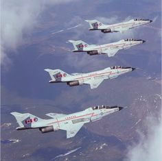 """Four Voodoo from 425 """"Alouette"""" Squadron fly in echelon right formation. This demonstration team is known as """"The Warlocks"""" and is led by Major Jim Gregory. Military Jets, Military Aircraft, Air Fighter, Fighter Jets, Douglas Aircraft, American Fighter, Aircraft Pictures, Air Force, The Incredibles"""