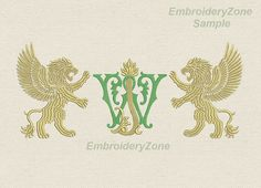 Double antique monograms from old books J & W 1 от EmbroideryZone