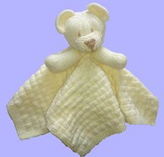 Knitting pattern instructions to knit a Childs Bear Comfort Blanket