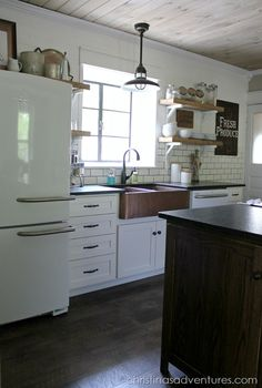 subway tile, wood ceiling, copper sink, appliances & lighting - inspiring #kitchen #makeover!