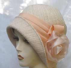 Womans Flapper 1920s Cloche Hat in Peach Tweed Fabric