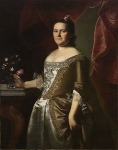 """Eleanor Phipps Blackstone"" by John Singleton Copley (1763) in the Mead Art Museum, Amherst - From the curators' comments: ""To depict the Blackstones as prominent Maine citizens—the husband was descended from one of Boston's founding families and his wife's family developed Portland, Maine—Copley surrounded them with their luxurious possessions, including velvet chairs and curtains."""