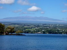 Hilo Bay with Mauna Kea in background