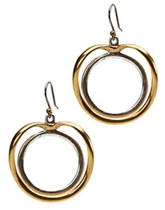 Two-Tone Double Circle Earrings - for Lucky Brand Jeans