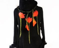 Tulip Triangle Scarves Felted Wrap Black Red Wool Wrap Nuno