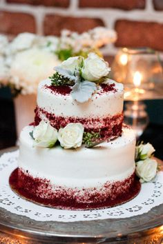 This pretty wedding cake is from Walmart. Think outside the box and save money!!