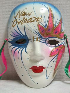 "New Orleans Mask Mardi Gras Ceramic 6.25""Decoration wall Hanging Hand Painted"