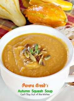 Panera Bread's Autumn Squash Soup | 1 extra large butternut squash 2-3 tbsp. extra virgin coconut oil salt and pepper, to taste 1 15-oz. can Libby's Pumpkin 1 ½ cups apple juice 1 ½ cups vegetable broth 1 ½ cups half-and-half 1 ½ tbsp. honey ¼ tsp. curry powder ½ tsp. cinnamon 1 ½ tsp. kosher salt ¼ tsp. black pepper roasted pumpkin seeds for garnish