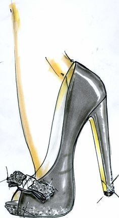 "Sketch of Sonam Kapoor's made-to-order Ferragamo pumps as part of ""Shoes for a Star"" project (Photo courtesy 