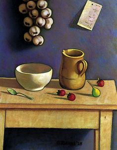 GEORGE BARNE Still Life with Strawberries (1928)