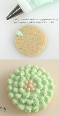 How to make scalloped-decorated cookies (Icing Bliss). Simple and pretty technique that would work great on cupcakes too!: