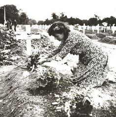 The wife of the mayor of St Mere Eglise, France, Mdme Simone Renaud, took it upon herself to tend the graves of fallen American servicemen who were buried in the two Seventh Corps cemeteries and the Blosville cemetery. She placed flowers on the graves and when scores of next of kin family members contacted her, she wrote them poems and letters and included some earth from the gravesite or flower petals in the envelopes. She wrote to families all over America.