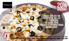 Born from a desire to make a difference, 101 Parathas offers a wide range of stuffed vegetarian parathas. You can now enjoy 20% discount on total bill at 101 Parathas by using your Traveller International Membership. Download GL Deals app now to get more access on offers! http://www.gldeals.com/myapp  #DxB #IndianCuisine #101Parathas #Parathas #IndianParatha #FoodLovers#Foodie #LoveFood #TravellerInternational #Membership #App #MobileApp#AndroidApp #iOSApp #AppStore #PlayStore #Deals…