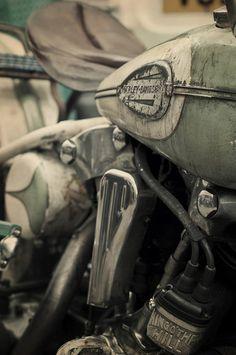 Old green & white Harley Davidson #Motorcycle