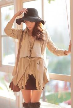 Autumn Flair Lace Trim Lapel Jacket in Khaki | Sincerely Sweet Boutique