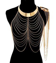 Trendy Sexy Gold Draped Chain Link with Arm Cuff Body Jewelry Statement Necklace #BodyJewelry