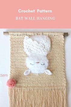 Bat Wall Hanging Crochet Pattern  #crochetpatternwallhanging #wallhangingcrochetpattern #crochetarcade #crochet #crochetpattern #diy #crafts #crochetarcadepattern Crochet Bat, Crochet Wall Art, Crochet Wall Hangings, Crochet Bunny Pattern, Crochet Birds, Crochet Motifs, Tapestry Crochet, Crochet Home, Crochet Crafts