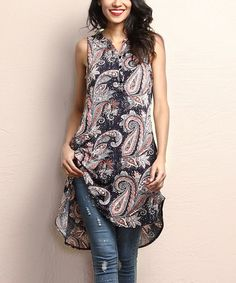 Another great find on #zulily! Navy & Pink Paisley Button-Front Sleeveless Tunic #zulilyfinds $35