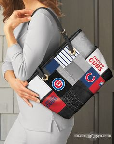 Sport your love for the Chicago Cubs in style with this fashion patchwork-style tote bag. This MLB-licensed tote showcases the official team colors and logos across faux leather and poly-twill patches for a designer look that's a sure home run every time. Take it out to the ball game or anywhere you go!