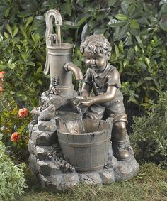 Boosting Children Fountain. Includes fountain and pump [17.3'' W x 26.4'' H x 13.4'' D] Cord [36'' Long] Polyresin. Assembly Required $129.99 Special financing available with PayPal Credit. Subject to credit approval [Large Photo] http://mcdn.zulilyinc.com/media/catalog/product//111395/zu23446926_main_tm1422398897.jpg