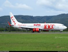 Lion Air (ID) Boeing 737-9GP(ER)(WL) PK-LOF aircraft, painted in ''100th Boeing Next-Generation 7337'' special colors & the sticker ''Thank You'' on the fuselage, rolling at Indonesia, Sultan Iskandar Muda Int'l Airport (also called Banda Aceh Int'l Airport). 31/12/2017.
