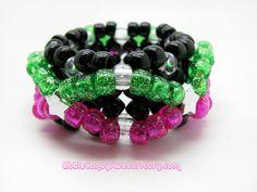 3D Kandi cuff Black X bracelet with pink and green glitter beads, $6.00