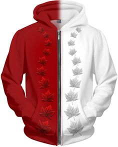 Canada From Sea To Sea Maple Leaf Flag Country Pride 2-tone Hoodie Pullover