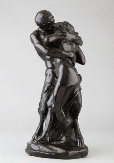Dalou Aimé Jules, le baiser du Faune. Sculpture 19e en bronze