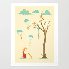 Invasion of the Tiny Giraffes Art Print by Jay Fleck - $16.00
