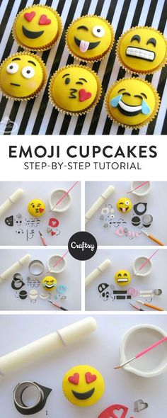 How to Make Insta-Worthy Emoji Cupcakes Put down the phone, pick up the cake tools and learn to make six expressive fondant toppers for adorable emoji cupcakes – on Craftsy! Fondant Toppers, Cupcakes Fondant, Fun Cupcakes, Wedding Cupcakes, Birthday Cupcakes, Cupcake Frosting, Cake Wedding, 21st Birthday, Cupcake Emoji