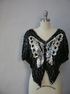 1970s beaded sequined butterfly top retro boho indie glam festival  by xhereliesbootsx on ETSY <3