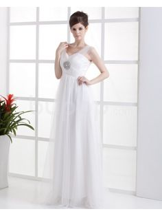 Chiffon Sweetheart Floor Length Column Wedding Dress with Beaded