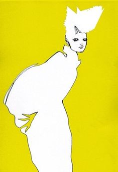 Hiroshi Tanabe fashion illustration - interesting idea to use a head as negative space.