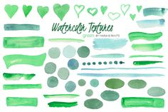 Watercolor Clip Art - Green by Maria B. Paints on Creative Market