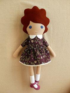 Reserved for Chelsey Fabric Doll in Plum Calico por rovingovine