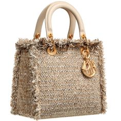 ~` lady dior stone tweed bag with fringe `~