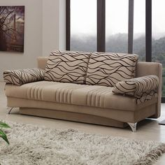 "Microfiber ""Daisy Light Brown Sofabed"" with storage underneath"