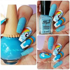 """""""Rainbow Dash from My little pony  I used 2 gorgeous nail polishes from @bornprettystorenailart @bornprettyreview ID: #6562 and #8794. Rest of the details are hand painted with acrylic paint."""" Photo taken by @miss.happy.and.her.nails on Instagram, pinned via the InstaPin iOS App! http://www.instapinapp.com (08/08/2015)"""