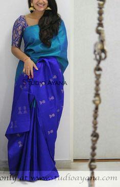 How to Select the Best Modern Saree for You? Cotton Saree Designs, Pattu Saree Blouse Designs, Half Saree Designs, Fancy Blouse Designs, Blue Silk Saree, Soft Silk Sarees, Royal Blue Saree, Silk Saree Kanchipuram, Ikkat Saree