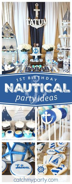 Don't miss this incredible Nautical birthday party. The cake pops are adorable! Nautical Cake Pops, Nautical Birthday Cakes, Anchor Birthday, 1st Birthday Boy Themes, Sailor Birthday, Nautical Party, Baby Boy Birthday, Boy Birthday Parties, Nautical Baptism